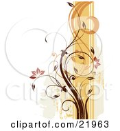Clipart Picture Illustration Of A Vine Plant With Orange Blooming Flowers Scrolling Over An Orange And White Background