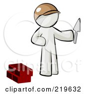 Royalty Free RF Clipart Illustration Of A White Man Brick Layer Holding A Trowel by Leo Blanchette