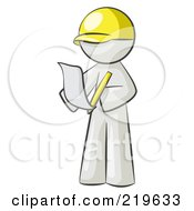 Royalty Free RF Clipart Illustration Of A White Man Draftsman Reviewing Plans