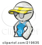 Royalty Free RF Clipart Illustration Of A White Woman Avatar Wearing A Visor And Shades by Leo Blanchette