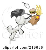 Royalty Free RF Clipart Illustration Of A White Man Tripping On Stairs With Fast Food And A Rolling Briefcase Flying