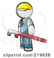 Royalty Free RF Clipart Illustration Of A White Man Design Mascot With A Red Pipe Wrench