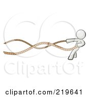 Royalty Free RF Clipart Illustration Of A White Design Mascot Man With A Rope Around His Waist