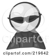 Royalty Free RF Clipart Illustration Of A White Man Avatar Spy Wearing Shades