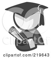 Royalty Free RF Clipart Illustration Of A White Man Avatar Graduate Holding A Diploma by Leo Blanchette