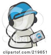 Royalty Free RF Clipart Illustration Of A White Man Avatar Holding An Mp3 Player