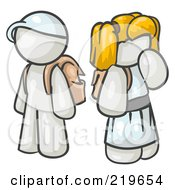 Royalty Free RF Clipart Illustration Of A White School Boy And Girl With Backpacks
