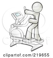 Royalty Free RF Clipart Illustration Of A White Man Exercising On A Cross Trainer In A Gym