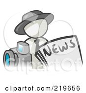 Royalty Free RF Clipart Illustration Of A White Man Wearing A Hat Posed In Front Of The News And A Camera