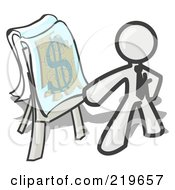 Royalty Free RF Clipart Illustration Of A White Business Man Standing By A Dollar Sign Puzzle On A Presentation Board During A Meeting