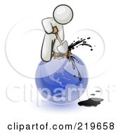 Royalty Free RF Clipart Illustration Of A White Man Using A Shovel To Drill Oil Out Of Planet Earth