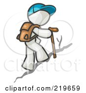 Royalty Free RF Clipart Illustration Of A White Man Backpacking And Hiking Uphill by Leo Blanchette