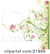 Clipart Picture Illustration Of A Green Plant Blooming Pink Flowers Over A White Background