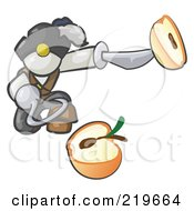 Royalty Free RF Clipart Illustration Of A White Man Pirate With A Hook Hand Holding A Sliced Apple On A Sword by Leo Blanchette