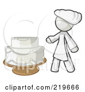 Royalty Free RF Clipart Illustration Of A White Woman Wedding Cake Maker