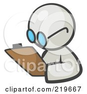 Royalty Free RF Clipart Illustration Of A White Man Avatar Writing Notes On A Clipboard