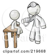Royalty Free RF Clipart Illustration Of A White Man Doctor Examining A Child