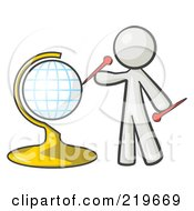 Royalty Free RF Clipart Illustration Of A White Man Inserting Pins On A Globe