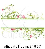 Clipart Picture Illustration Of A Blank White Text Space With Floral Borders Of Green Plants And Pink Flowers