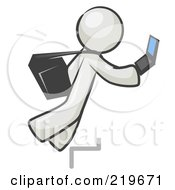 Royalty Free RF Clipart Illustration Of A Distracted White Man Tripping On Steps While Texting On A Cell Phone