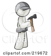 Poster, Art Print Of White Man Contractor Hammering