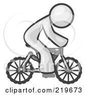 Royalty Free RF Clipart Illustration Of A White Man Riding A Bicycle