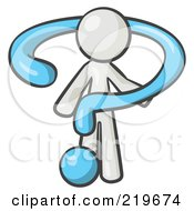 Royalty Free RF Clipart Illustration Of A White Man Draped In A Blue Question Mark