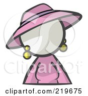 White Woman Avatar In A Dress And Hat