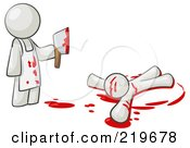 Royalty Free RF Clipart Illustration Of A White Man Killer Holding A Cleaver Knife Over A Bloody Body by Leo Blanchette