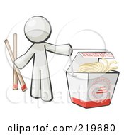White Man Design Mascot Holding Chopsticks By A Chinese Takeout Container