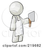 Royalty Free RF Clipart Illustration Of A White Man Butcher Holding A Meat Cleaver Knife