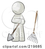 Royalty Free RF Clipart Illustration Of A White Man Gardener With A Shovel And A Rake by Leo Blanchette