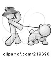 Royalty Free RF Clipart Illustration Of A White Man Walking A Tough Bulldog On A Leash