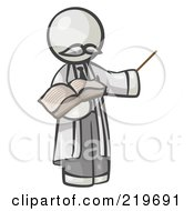 Royalty Free RF Clipart Illustration Of A White Man Professor Holding A Pointer Stick And An Open Book