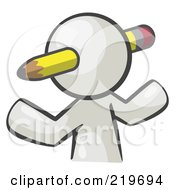Royalty Free RF Clipart Illustration Of A White Man Avatar Writer With A Pencil Through His Head
