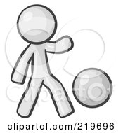 Royalty Free RF Clipart Illustration Of A White Man Kicking A White Ball