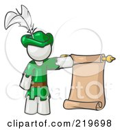 Royalty Free RF Clipart Illustration Of A White Man Dressed As Robin Hood With A Feather In His Hat Holding A Blank Scroll And Acting As A Pageboy by Leo Blanchette
