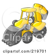 Royalty Free RF Clipart Illustration Of A White Man Operating A Yellow Backhoe Machine At A Construction Site by Leo Blanchette