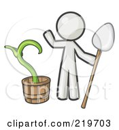 Royalty Free RF Clipart Illustration Of A White Man Holding A Shovel By A Potted Plant
