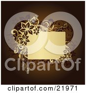 Clipart Picture Illustration Of A Tan Text Box Bordered By Flowers And Vines Over A Brown Background