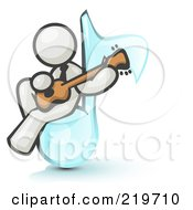White Man Sitting On A Music Note And Playing A Guitar