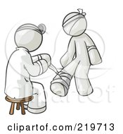 Royalty Free RF Clipart Illustration Of A White Male Doctor In A Lab Coat Sitting On A Stool And Bandaging A Patient That Has Been Hurt On The Head Arm And Ankle