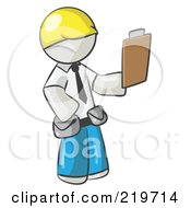 Royalty Free RF Clipart Illustration Of A White Man Construction Site Supervisor Holding A Clipboard