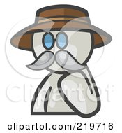 Royalty Free RF Clipart Illustration Of A White Man Avatar Professor With A Mustache by Leo Blanchette