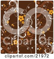 Clipart Picture Illustration Of Three Frames Of White And Brown Vines With Orange Flowers Over Brown