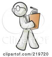 Royalty Free RF Clipart Illustration Of A White Man Holding A Clipboard While Reviewing Employess