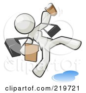 Royalty Free RF Clipart Illustration Of An Overwhelmed White Woman Slipping On A Puddle Of Water