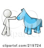 Royalty Free RF Clipart Illustration Of A White Man Petting A Blue Horse