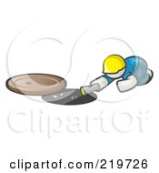 Royalty Free RF Clipart Illustration Of A White Man Design Mascot Sewer Worker Shining A Flashlight Down A Man Hole by Leo Blanchette