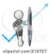 Royalty Free RF Clipart Illustration Of A White Lady In A Gray Dress Standing With A Giant Pen In Front Of A Blue Check Mark